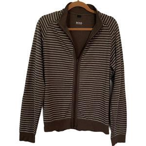 Hugo Boss XL Brown Stripe Full Zip Jacket
